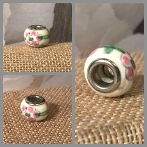 Jewelry - Sterling Silver 925 White Pink Flower Glass Bead